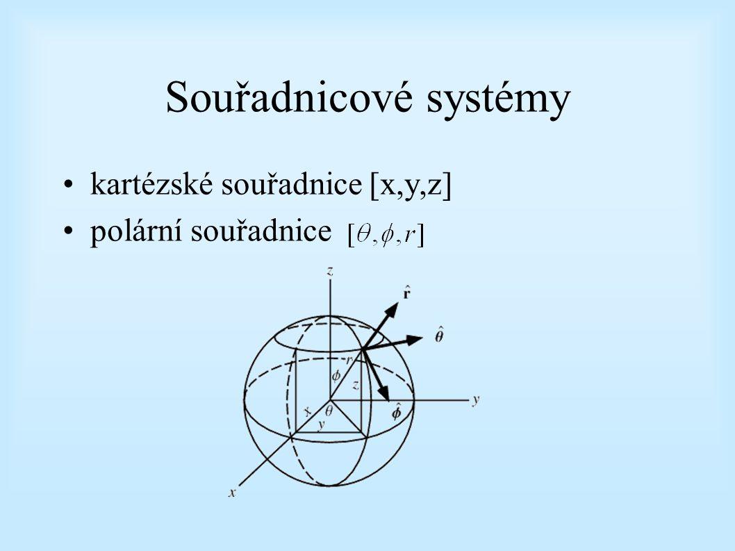 Souřadnicové systémy kartézské souřadnice [x,y,z] polární souřadnice